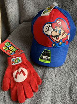 Super Mario Youth Red Blue Character Hat / Baseball Cap & Knit Gloves NW... - $15.83