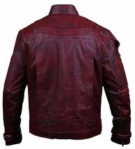 Guadians Of Galaxy Vol 2 Star Lord Peter Quill Distressed Maroon Leather Jacket image 2