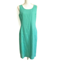 Anne Klein 8 Linen Dress Sleeveless Blue Green Lined Shift Princess Seam... - $20.00