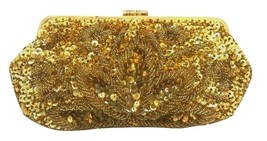 Gold Sequin Embroidered Vintage Evening Purse w/  Clutch Clasp Fashion - $119.99