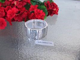 Liz Claiborne High Polished Silvertone Cuff Stretch Bracelet New With Tag - $14.99
