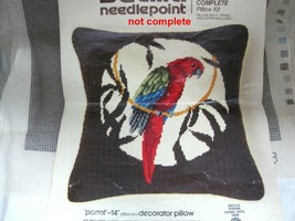 Bucilla Needlepoint Parrot Pillow #4278 Canvas Only 14 Inch Clean Nice T52 - $18.32