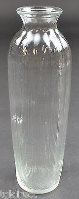 "FTDA Clear Glass Ribbed Pattern Bud Vase 9"" Tall Home Decor Bouquet Flower"