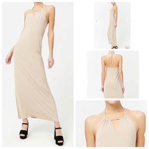 Beige Halter Maxi Dress Medium Stretch Sleeveless Elastic Back Side Slit... - $9.80