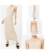 Beige Halter Maxi Dress Medium Stretch Sleeveless Elastic Back Side Slit... - $9.80