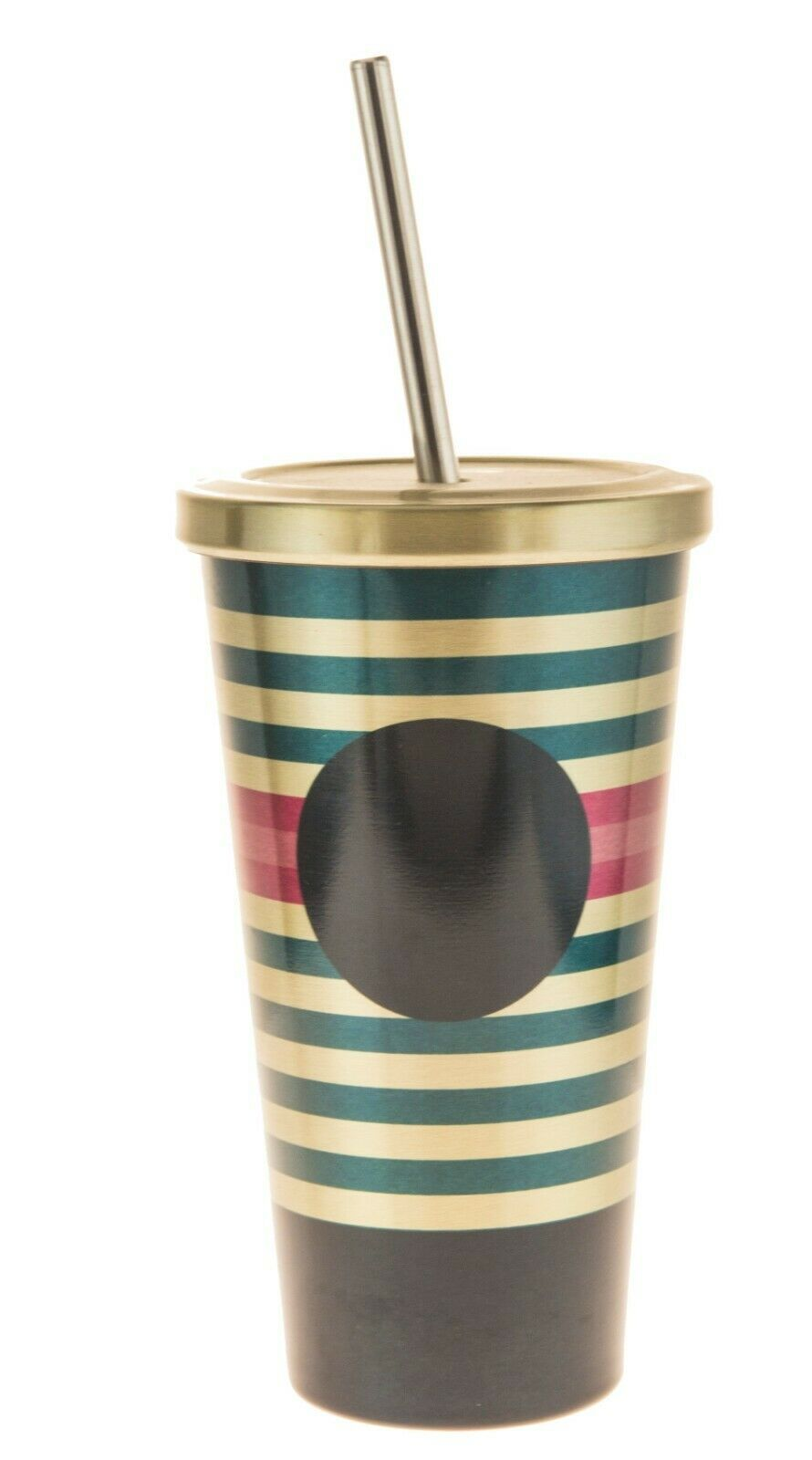 Primary image for Starbucks Dot Green Pink Lines Design Stainless Steel Cold Cup Tumbler 16Oz
