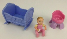 Loving Family Dollhouse Rocking Cradle and Girl Baby Figure Fisher Price... - $24.90