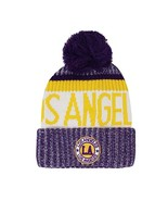 Los Angeles Men's Winter Knit Landmark Patch Pom Beanie (Gold/Purple) - $12.95