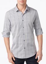 Alfani Men's Classic-Fit Striped Windowpane Shirt, Smooth Silver, Size S... - $24.74