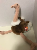 "NEW Large TY Beanie Baby Ostrich STRETCH Osterage 17"" From Top of Head - $7.69"