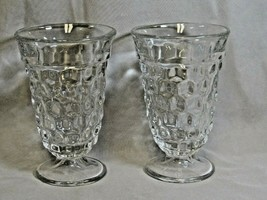 """2 Clear Fostoria American Cube Pattern 5.75"""" Footed Water Ice Tea Glasses  - $24.99"""