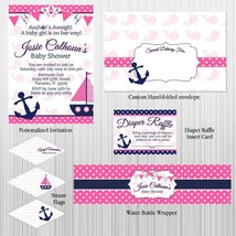 Nautcial, Anchors Away, Girl Baby Shower Party Package: Invitation, Pers... - $29.70