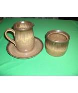 Vintage 3 Pc Sugar Creamer Saucer Denby-Langley China Pottery Romany-Bro... - $64.35