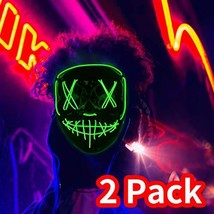 HWG Halloween Mask LED Light up for Festival Cosplay with 3 Modes 2 Pack... - $35.96 CAD