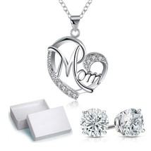 "Silver Created White CZ Created Heart MOM Pendant 18"" Chain - $14.69"