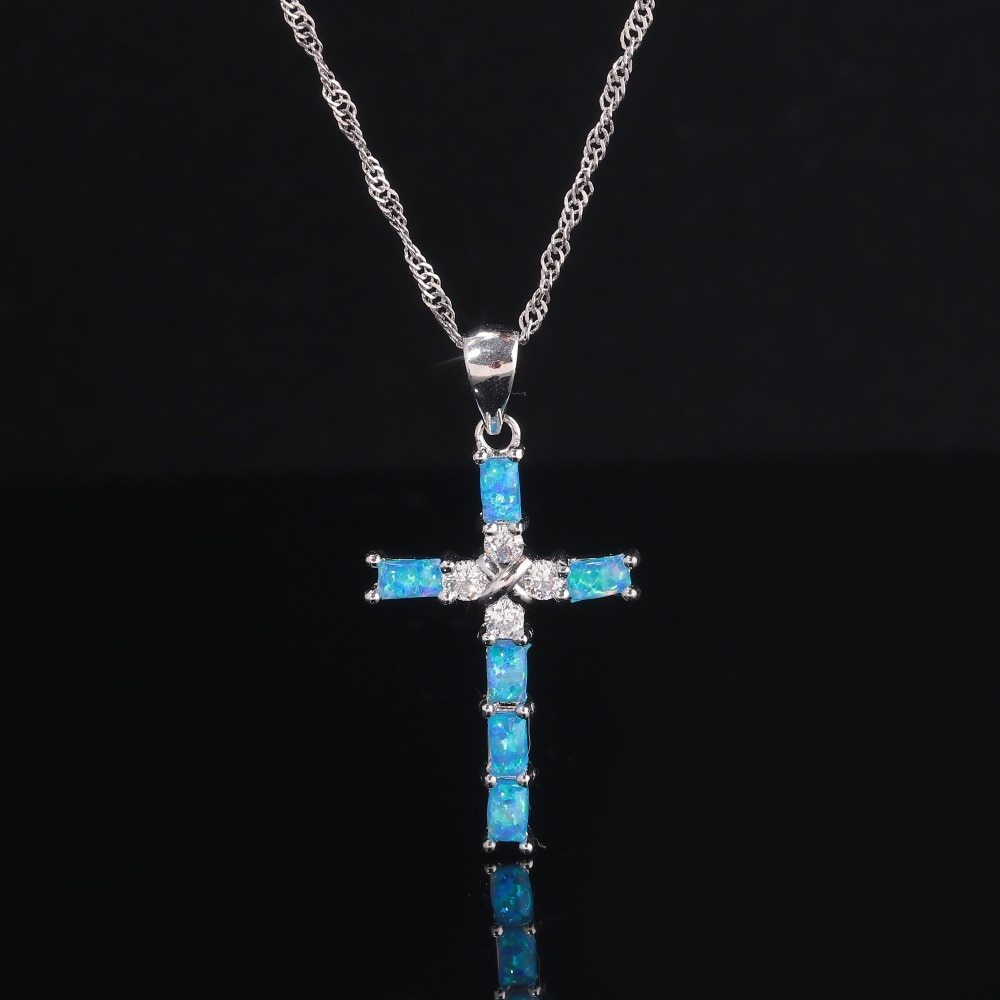 White & Blue Cross Opal Pendant & Necklace Silver Plated Gem Crucifix Charm With image 3