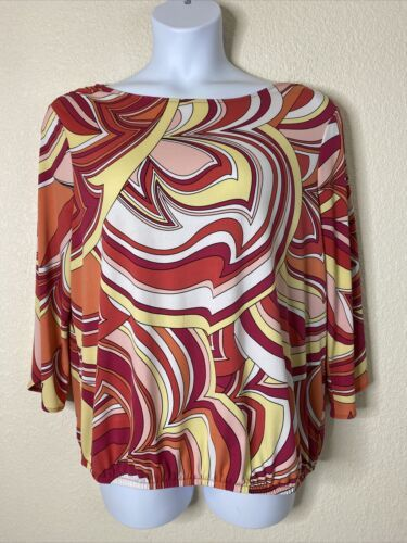 Primary image for Chico's Womens Size 3 Pink Abstract Pattern Blouse 3/4 Slit Sleeve