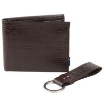Tommy Hilfiger Men's Double Bill Fold Wallet & KeyFob Box Set Brown 41TL25X024 image 3