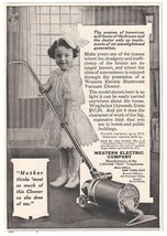 Western Electric Vacuum Cleaner Girl Vacuums Hair Bow White Button Boots  - $12.99