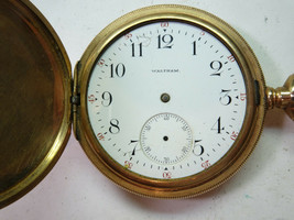 WALTHAM 15J 1901 ANTIQUE GOLD FILLED POCKET WATCH RUNS FOR REPAIR CHIP N... - $178.99