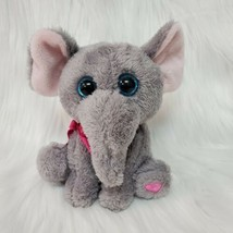 "8"" KellyToy Elephant Gray Pink Big Blue Eyes Plush Stuffed Animal Toy B81 - $14.99"