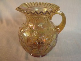 "Fenton  9"" Carnival Glass Marigold ""Apple Tree"" Pitcher  - $44.55"
