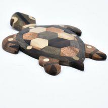 Northwoods Handmade Wooden Parquetry Sea Turtle Sculpture Figurine image 3