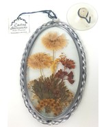 VTG Lasting Impressions Real Dried Flowers Glass Metal Frame Window Sunc... - $17.75