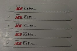 "ACE 2099422 6"" x 24TPI Bi-Metal Metal Cutting Recip Saw Blade 5pc Swiss ... - $4.70"
