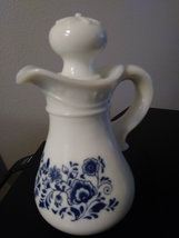 Vintage Avon White Milk Glass Pitcher/Decanter with Stopper Floral Design Pitche image 4
