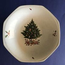 Christmas Holiday Season Japan Footed Bowl Dish Nova Studio NY 102 Tree Holly - $21.77