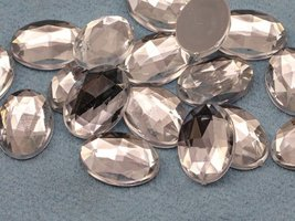 25x18mm Crystal H102 Flat Back Oval Acrylic Jewels High Quality Pro Grad... - $5.35