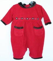 Baby Oshkosh B'gosh Red Outfit Infant Baby 5-12 Lb Girl Black Velvet Trim - $4.94