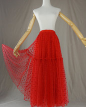Red Tiered Tulle Skirt Red Polka Dot Tiered Tulle Skirt Red Party Tulle Skirt image 7
