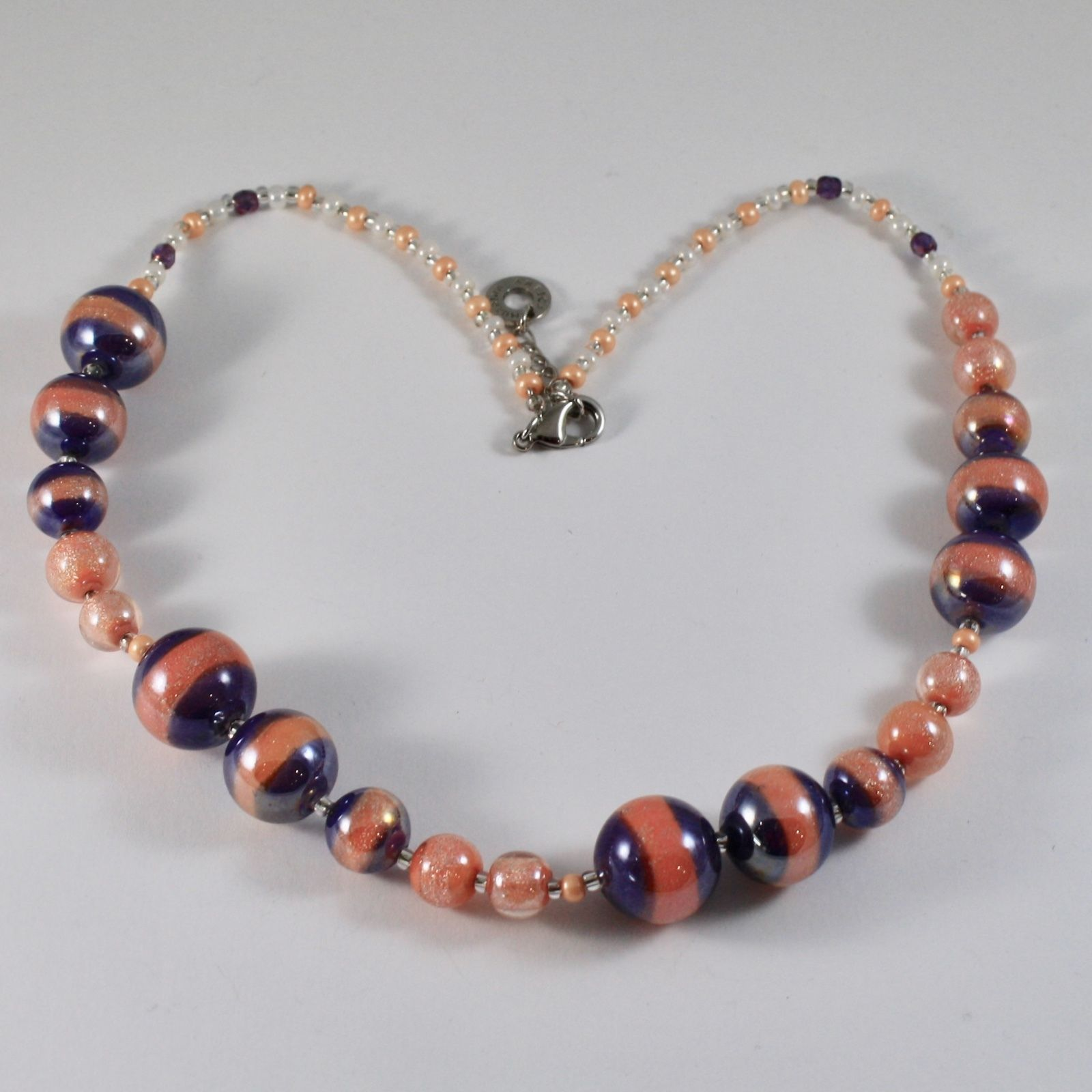 ANTICA MURRINA VENEZIA NECKLACE WITH ORANGE PURPLE MURANO GLASS BALLS 20 INCHES