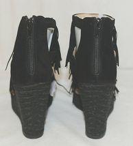BF Betani Shiloh 8 Black Fringe Wedge Heel Sandals Size 7 And Half image 5
