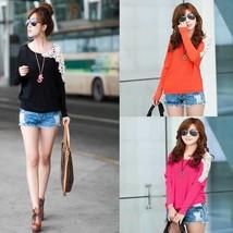 Women Loose Primer Shirt Lace Round Beck Bat T-Shirts S/M/L/XL