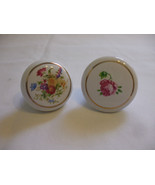 Shabby Chic Antique Ceramic Cabinet Drawer Door Pulls With Flowers  - $15.99