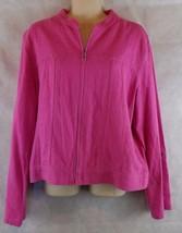 Christopher & Banks Pink Zip Light Jacket 3/4 - Long Sleeves Size L Line... - $13.37