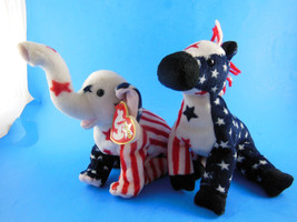 Lefty [no ear tag]& Righty [with ear tag] Patriotic Beanie Babies 2000 P... - $9.89