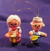 Vintage Lot Of 2 Wood Granny & Grandpa Band Christmas Tree Ornaments - $14.21