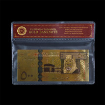 WR Saudi Arabia 500 Riyals 24k Color Gold Polymer Banknote Collectors It... - $3.50