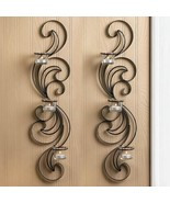 """WISP CANDLE WALL SCONCE Set of 2 Graceful Curves 24"""" Tall Black Metal - $31.99"""