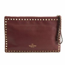 "Valentino Rock Studs Clutch Bag leather Wine red Handbag Garavani 13.5"" ... - $553.41"