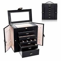 Uptizer Jewelry Box Organizer Functional Huge Lockable, Leather Jewelry ... - $93.83