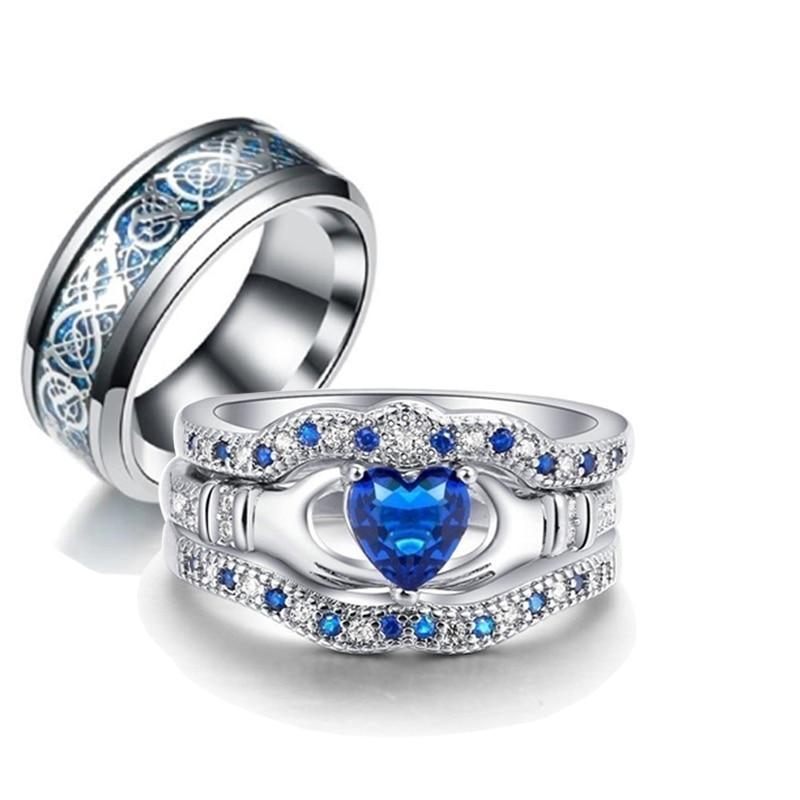 Ple ring female zircon ring set wedding engagement ring male stainless steel dragon pattern ring