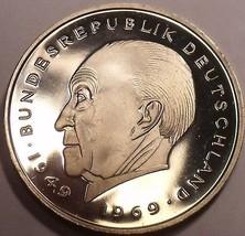 Germany 1980-J 2 Marks Proof~Konrad Adenauer~110,000 Minted In Hamburg~Free Ship - $12.66