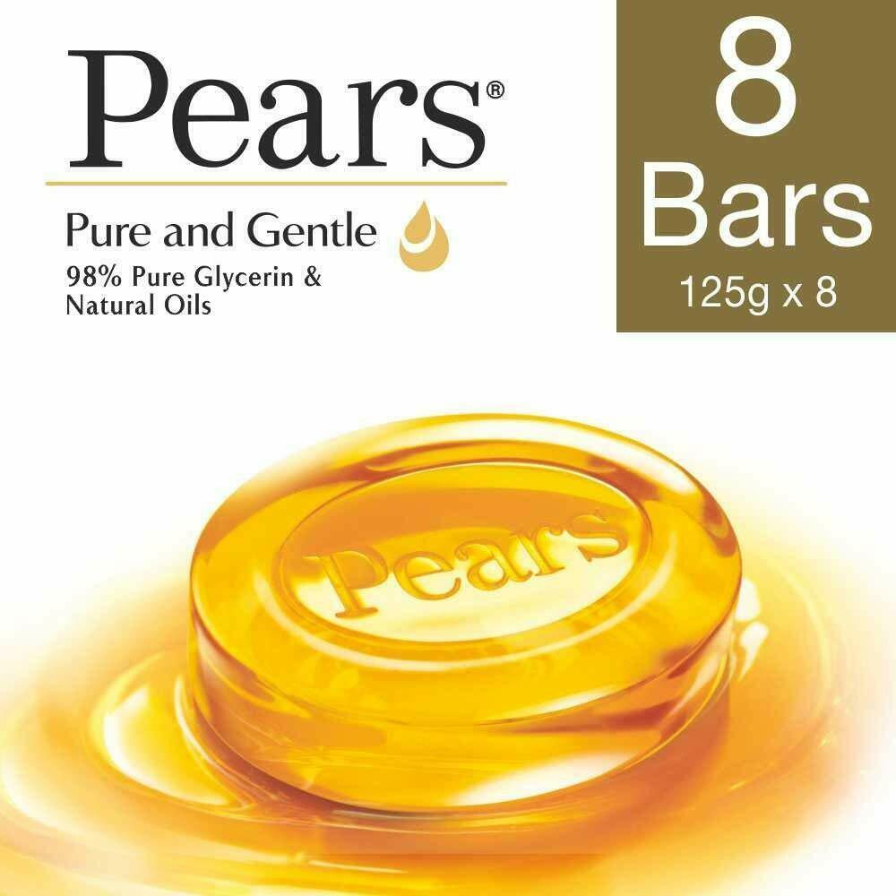 Pears Pure And Gentle Bathing Bar, 125g (Pack Of 8)*au