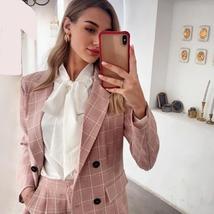 Women's Business Attire Pink Plaid Double Breasted Blazer Paint Suit image 2