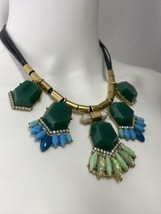 """J Crew Statement Necklace Green Blue Opalescent """"Stones"""" on Multistrand ... - $29.95"""